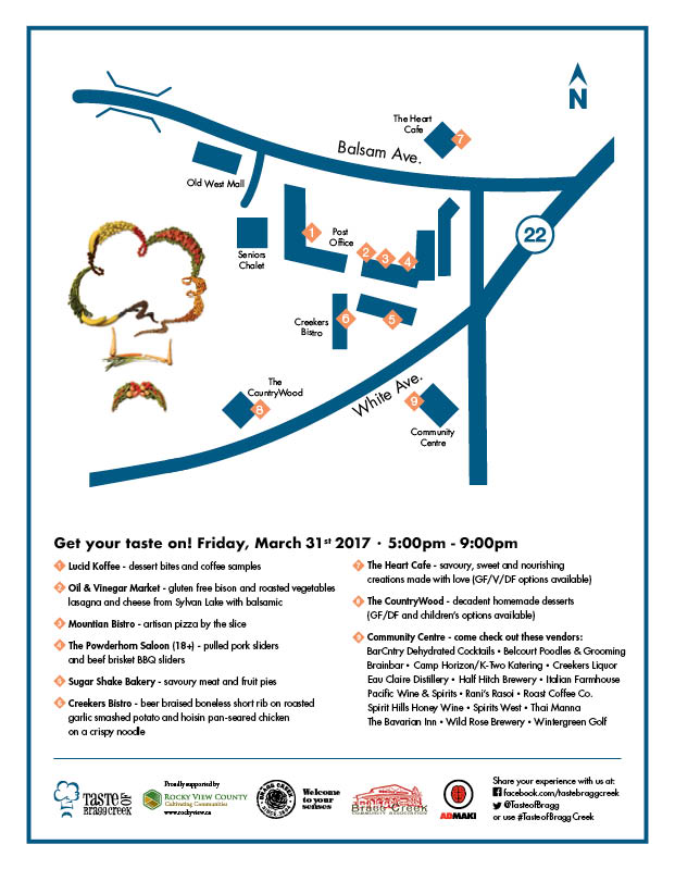 Map for Taste of Bragg Creek